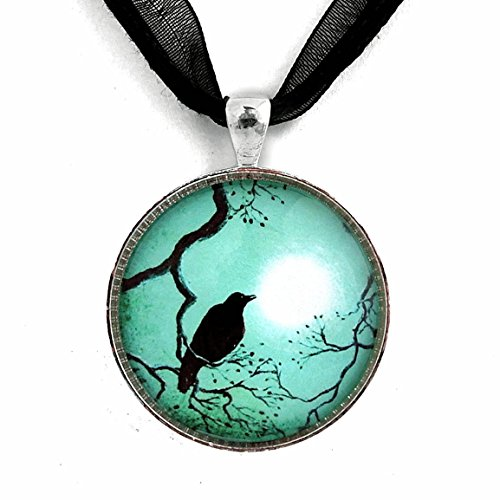 Laura Milnor Iverson Crow Pendant Black Bird Necklace Silhouette Teal Blue Moon Zen Tree Branches Handmade Jewelry Art