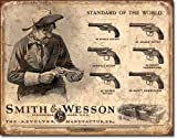 Smith and Wesson Revolvers Standard of the World Distressed Retro Vintage Tin Sign