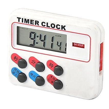 eDealMax plástico de la batería Pantalla LCD Desarrollado Count Down Hasta reloj temporizador Blanca