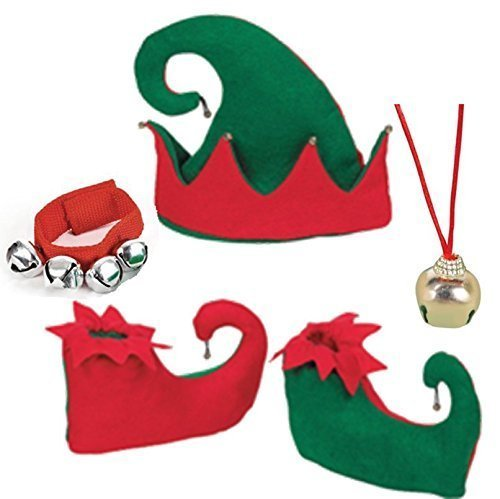 happy deals Red and Green Jingle Bell Elf Accessory Set- Elf Hat, Elf Shoes, Jingle Bell Necklace, and Jingle Bell Bracelet -