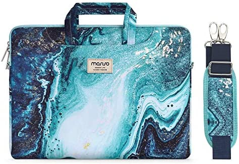 MOSISO Laptop Shoulder Bag Compatible with 2019 MacBook Pro 16 inch, 15 15.4 15.6 inch Dell Lenovo HP Asus Acer Samsung Sony Chromebook, Creative Wave Marble Briefcase Sleeve with Trolley Belt