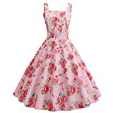 Mother Girlfriend Gift Lankcook Women Vintage Printing Evening Party Dress Pink