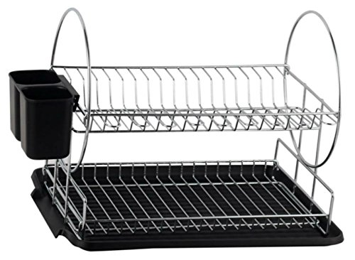 Dish Stand (Deluxe Chrome-plated Steel 2-Tier Dish Rack with Drainboard / Cutlery Cup (BlackII))