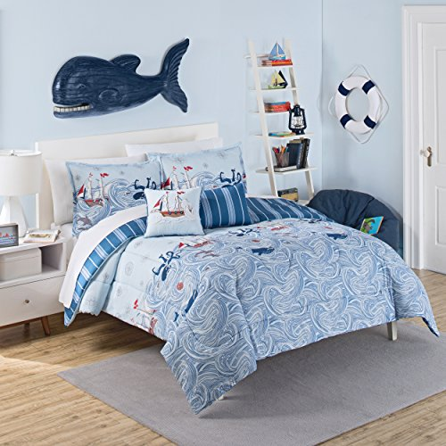 (Waverly Kids 16446BEDDTWNAQU Ride The Waves 86-inch by 68-Inch Reversible Twin Comforter Collection, Aqua)