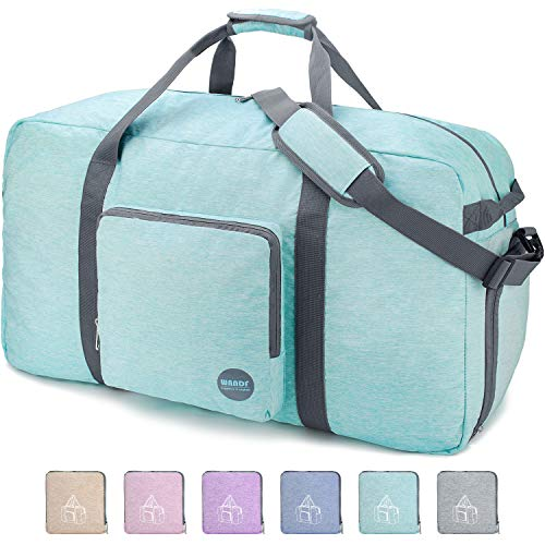 "28"" Foldable Duffle Bag 80L for Travel Gym Sports Packable Lightweight Luggage Duffel Water-resistant By WANDF (Light Mint Green, 28 inches (80 Liter)"
