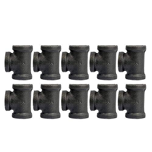 YaeTek Tee, Black, 1/2-Inch Cast Iron Malleable Pipe Fitting Class 150-10 Pack