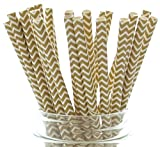 Gold Chevron Zig Zag Straws (25 Pack) - Designer Paper Straws, 50th Golden Anniversary Party Supplies, Formal Wedding Favors