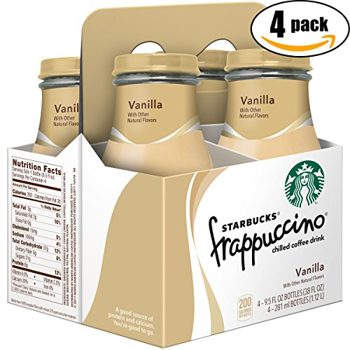 Starbucks Frappuccino Vanilla Chilled Coffee Drink, 9.5 Glass Bottle (Pack of 4 x4, Total of 152 Oz)
