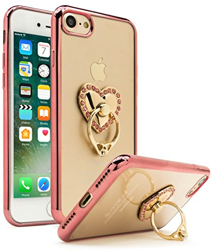 iPhone 7 Case, Bastex Ultra Thin Clear Luxury TPU Rose Gold Bumper Case Cover with Attachable Heart Diamond Ring Holder for Apple iPhone 7