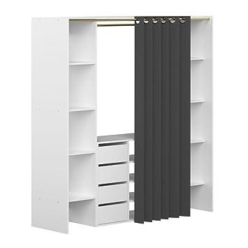 INSIDE Dressing Extensible Chica 2 colonnes 4 tiroirs Blanc avec ...