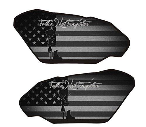 Size is 4.4 in tall x 9.3 in wide Universal Fallen Soldier Black 3d Gel Motorcycle Gas Tankpad side -