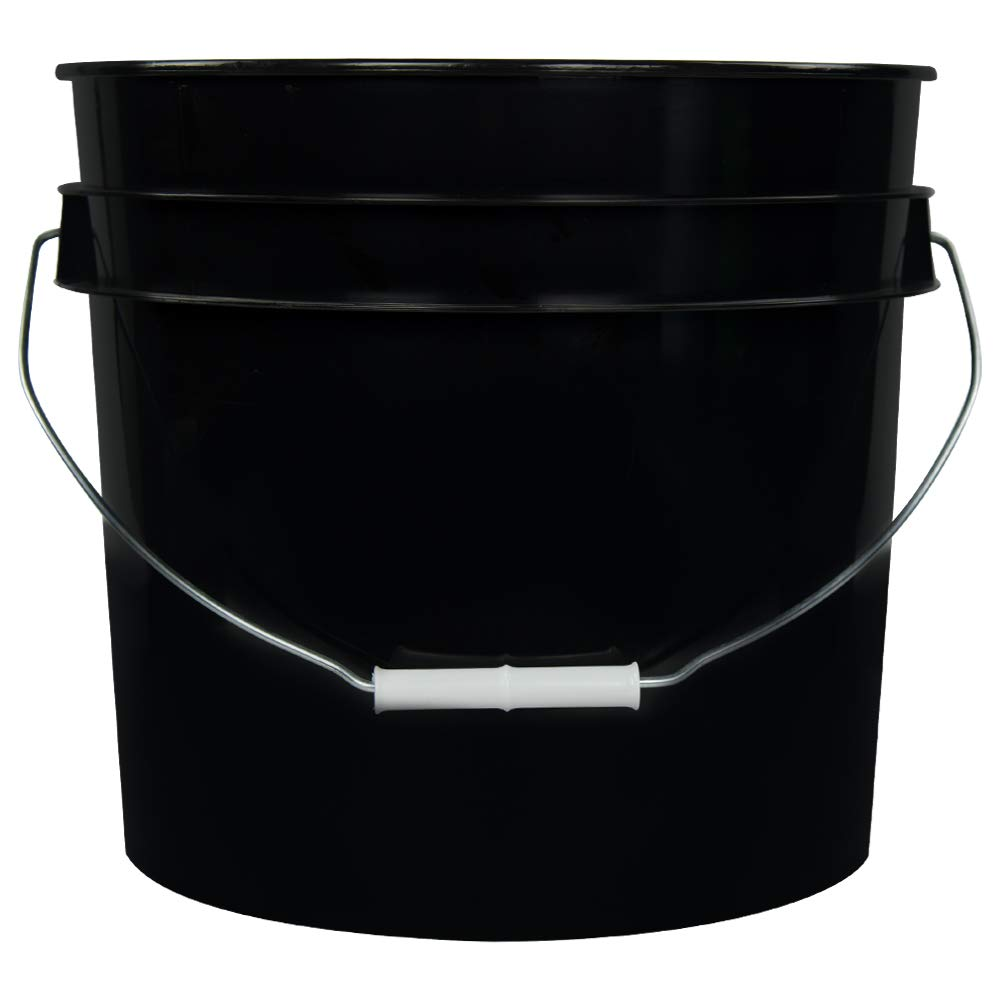3.5 Gallon Black White High Density Plastic Bucket with Pour Spout Lid (4 Buckets)
