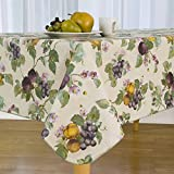 Everyday Luxuries Fresco Fruit Flannel Backed Vinyl Tablecloth, 60-Inch by 144-Inch Oblong (Rectangle)