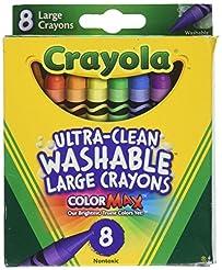 Crayola Washable Crayons, Large, 8 Color...