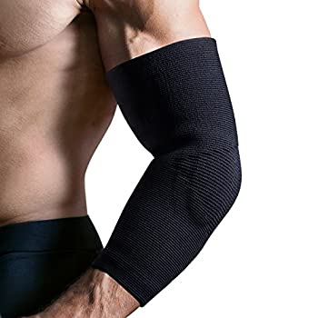Elbow Sleeves (Single) FREETOO Anit-slip Elbow Brace Compression Support For Workouts-Arthritis, Tendonitis, Tennis and Golfer's Elbow Recovery Sleeve for Men/Women-L