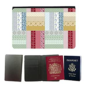 Passeport Voyage Couverture Protector // V00002038 sin patrón floral mosaico // Universal passport leather cover