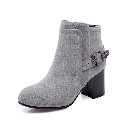 Womens Boots Chunky Heels Kitten AdeeSu Frosted Heels Buckle Gray RdqRZw
