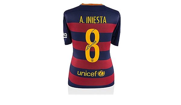 Iconos Tienda Unisex icaibs8 Back Andrés Iniesta Firmado Barcelona 2015 – 16 Camiseta de la Temporada, na: Amazon.es: Deportes y aire libre