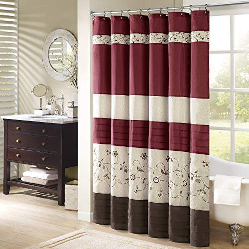 Embroidered Kids Parka - Madison Park Serene Flora Fabric Shower Curtain, Embroidered Transitional Shower Curtains for Bathroom, 72 X 96, Red