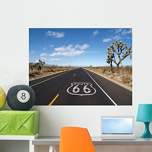 Scenic Route Background (Route 66 Mojave Desert Wall Mural Wallmonkeys Peel and Stick Graphic (36 in W x 27 in H) WM340845)