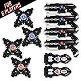 Power Tag Infrared Laser Tag Gun & Vest Set - for Kids & Adults - 6 Player Bonus Pack with 4 Guns, 4 Vests and 2 Battle Blasters - Infrared -1mW