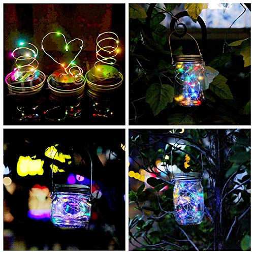 KZOBYD 8 Pack Solar Mason Jar Lid String Lights with 8 Handles,Fairy Starry Firefly Lights Kit Hanging for Outdoor Indoor Patio Wedding Decor(Jars Not Included)(8, Colorful 10LED) by KZOBYD (Image #2)