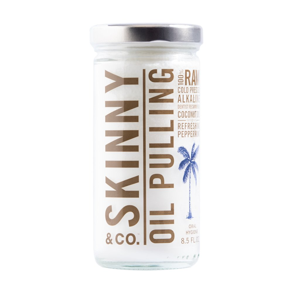 Skinny and Co. 100% Raw Oil Pulling Peppermint Coconut Oil for Healthier Teeth and Gums (8.5 Ounce)