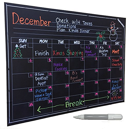 Wall Calendar - Large Chalkboard Decal. Smart Monthly Dry Erase