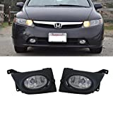 VioGi 2pcs JDM Clear Lens Fog Lights w/ Bulbs+Switch+Wiring Harness & Necessary Installation Kit For 06-08 Honda Civic 4-Door Sedan by VioGi