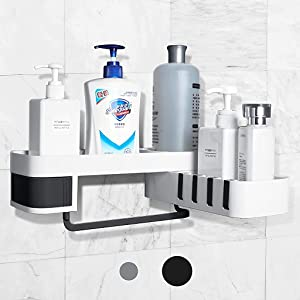 LuxyKid&Wares Shower caddy to hold shampoo and soap with hooks for hanging sponge and razor – no drilling - adhesive wall mounted bathroom shelf – kitchen corner food storage basket