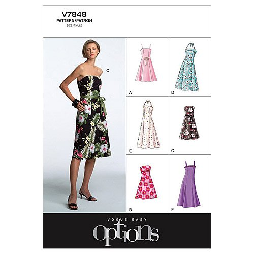 Vogue Pattern V7848 Misses' Petite Dress, Size 6-8-10