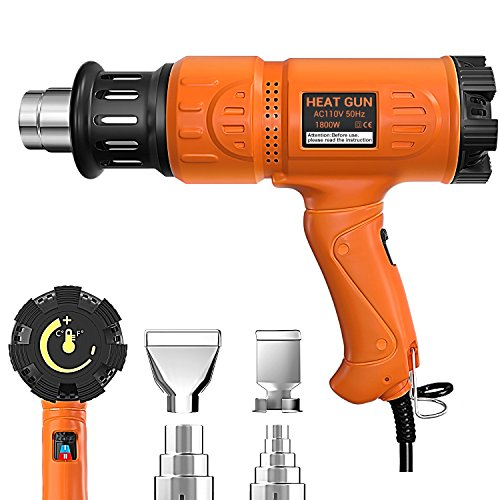 Heat Gun 1800W Heavy Duty Hot Air Gun Variable Temperature Control with 2-Temp Settings 4 Nozzles 140℉~1112℉(60℃- 600℃)with Overload Protection for Stripping Paint, Bending Pipes, Lighting BBQ by SNIGJAT
