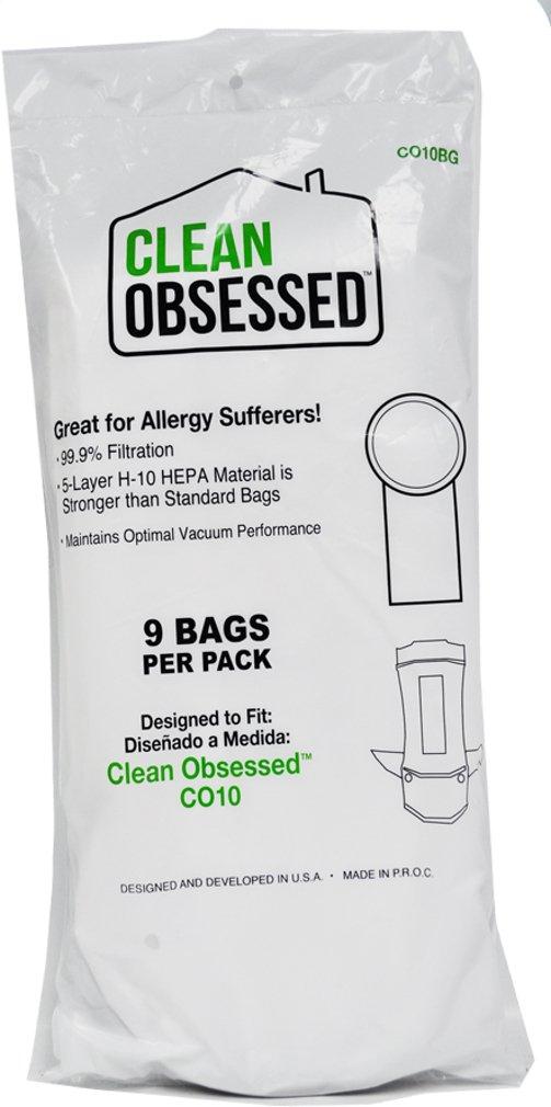 Clean Obsessed Backpack Vacuum HEPA Paper Bags CO10BG