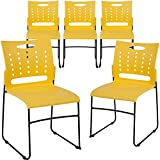 Flash Furniture 5-RUT-2-YL-GG Yellow Plastic Stack Chairs 5 Pack