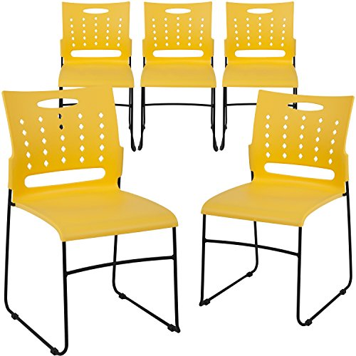 - Flash Furniture 5-RUT-2-YL-GG Yellow Plastic Stack Chairs, 5 Pack,