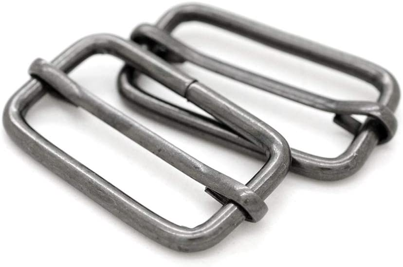 """CRAFTMEMORE Triglide Slider 1 1/4"""", 1 1/2"""" Belt Keeper Movable Bar Slider Strap Adjuster Rectangle Strap Keeper Purse Making (1-1/4"""" x 100 pcs, Gunmetal)"""