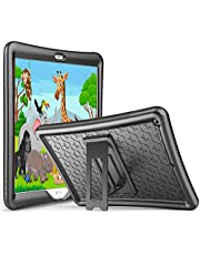 ProCase Kids Case for iPad 10.2 8th Gen 2020 / 7th Gen 2019, Shockproof Soft Silicone Case, Lightweight Anti-Slip Kids Friendly -Black Protective Cover with Kickstand for 10.2 Inch iPad 8 / iPad 7
