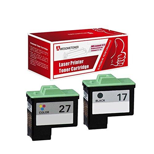 AwesomeToner 2 PK 10N0217 ( #17 ) 10N0227 ( #27 ) Compatible ink cartridge for Lexmark Z13 Z23 Z25 Z33 Z35 Z515 Z605 Z615 X75 X1150 X1185 High Yield 475 ()