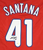 Carlos Santana Philadelphia Phillies Signed Autographed Red #41 Custom Jersey Witnessed COA