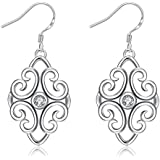 Women Jewelry 925 Sterling Silver Plated Waterdrop Crystal Dangle Walking Street