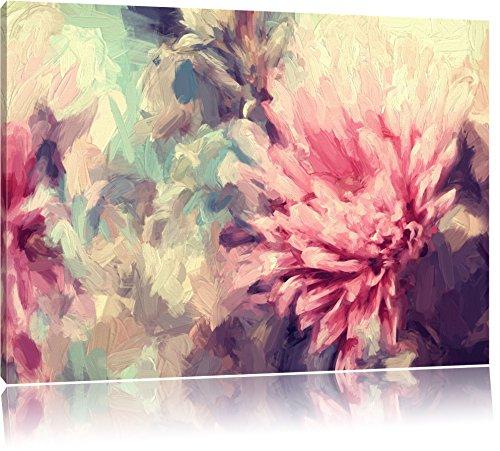 Romantische Blumen Pinsel Effekt, Format: 80x60 auf Leinwand, XXL riesige Bilder fertig gerahmt mit Keilrahmen, Kunstdruck auf Wandbild mit Rahmen, günstiger als Gemälde oder Ölbild, kein Poster oder Plakat
