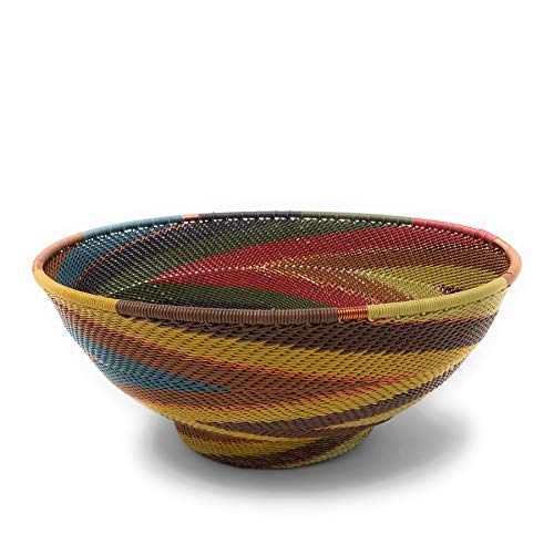 Bridge for Africa Fair Trade Zulu Telephone Wire 8-inch Pedestal Bowl, Painted ()