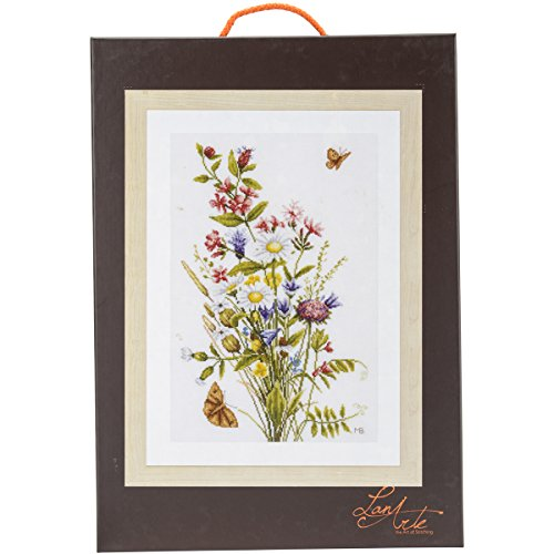 Vervaco LanArte Field Flowers on Cotton Counted Cross Stitch
