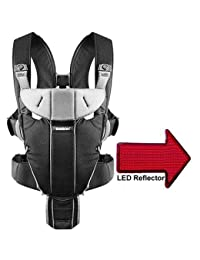 Baby Bjorn - Miracle Baby Carrier with LED Safety Reflector Light - Black Silver Cotton Mix BOBEBE Online Baby Store From New York to Miami and Los Angeles