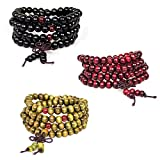 3Pcs Men Women 8mm Buddhist 108 Prayer Mala Beads Sandalwood Bracelet Necklace Elastic