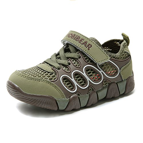 HOBIBEAR Boys Outdoor Strap Athletic Sneakers Running Shoes Army ()
