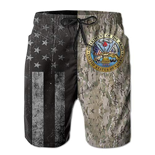 SANNER-SU US Army Seal Men's Beach Shorts Swim Trunks - Swimsuit Athletic Shorts ()