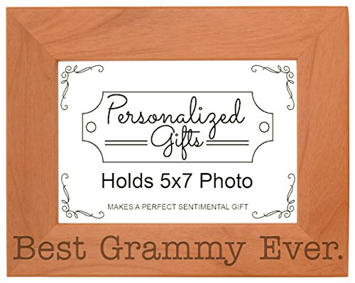 ThisWear Birthday Gift Grandma Best Grammy Ever Natural Wood Engraved 5x7 Landscape Picture Frame Wood