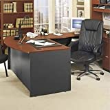 Bush Furniture Series C Right L-Shape Wood Executive Desk in Auburn Maple