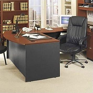 Bush Furniture Series C Right L Shape Wood Executive Desk In Auburn Maple